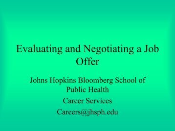 Evaluating and Negotiating a Job Offer - Johns Hopkins Bloomberg ...