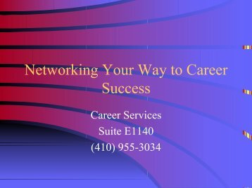 Networking Your Way to Career Success - Johns Hopkins ...