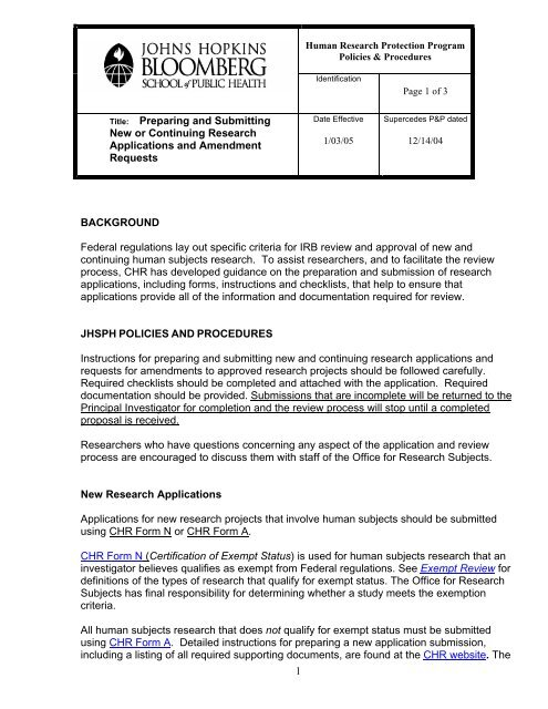Title Preparing And Submitting New Or Continuing Research