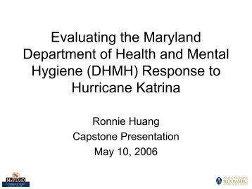 Response to Hurricane Katrina - DHMH