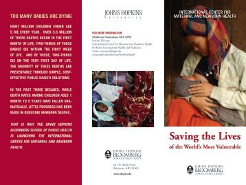 Center Brochure - Johns Hopkins Bloomberg School of Public Health