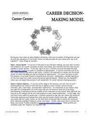 CAREER DECISION- MAKING MODEL - Johns Hopkins University