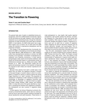 The Transition to Flowering - John Innes Centre
