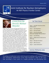 JINA Newsletter - The Joint Institute for Nuclear Astrophysics