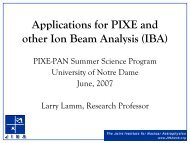 Applications for PIXE and other Ion Beam Analysis (IBA)