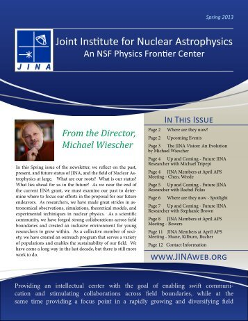 JINA Newsletter (April 2013) - Joint Institute for Nuclear Astrophysics