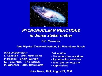 PYCNONUCLEAR REACTIONS in dense stellar matter