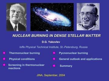 NUCLEAR BURNING IN DENSE STELLAR MATTER