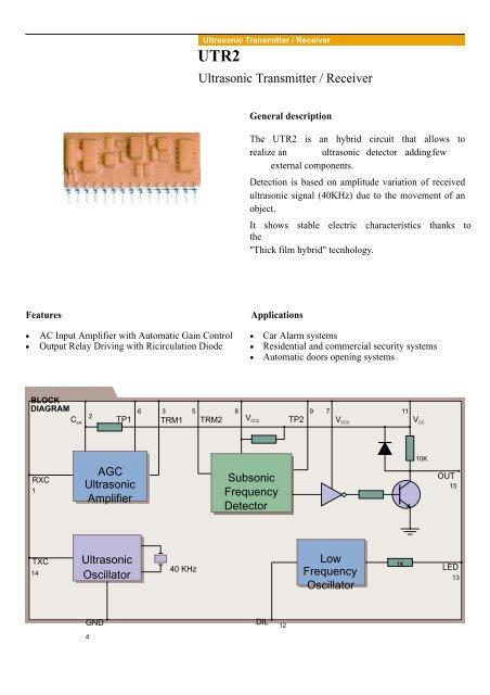 Ultrasonic Transmitter / Receiver - JIN ZON