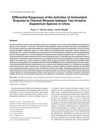Differential Responses of the Activities of Antioxidant Enzymes to ...