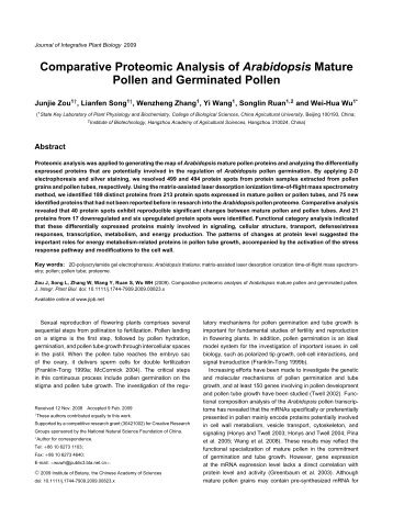 Comparative Proteomic Analysis of Arabidopsis Mature Pollen and ...