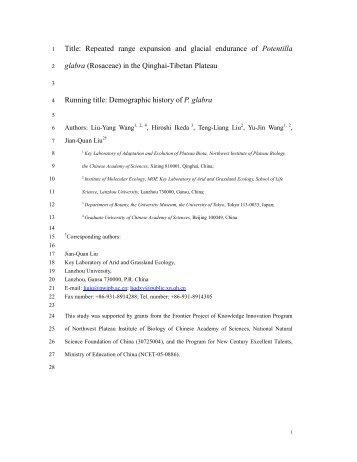 Repeated range expansion and glacial endurance of Potentilla glabra