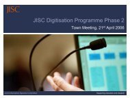 Context: JISC Capital Programmes