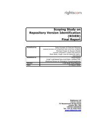 Scoping Study on Repository Version Identification (RIVER ... - Jisc