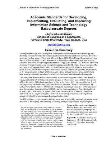 Academic Standards for Developing, Implementing, Evaluating, and ...