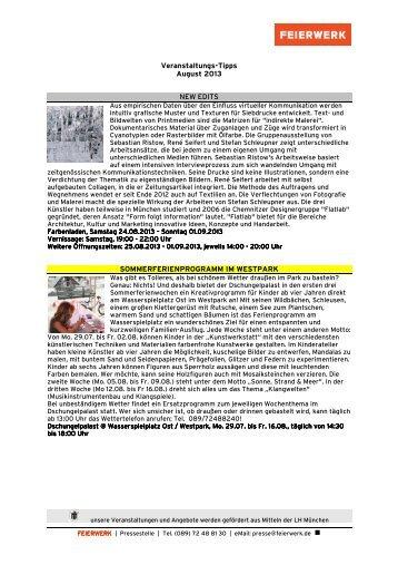 Veranstaltungs-Tipps August 2013 NEW EDITS ... - JIZ