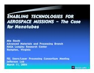 ENABLING TECHNOLOGIES FOR AEROSPACE ... - Jefferson Lab