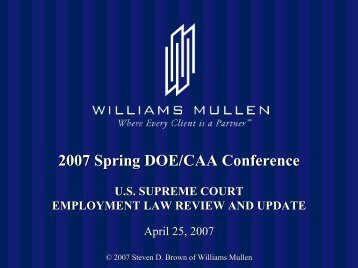 U. S. Supreme Court Employment Law Review and Update