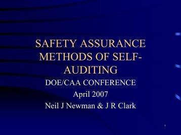 SAFETY ASSURANCE METHODS OF SELF AUDITING MEETING ...