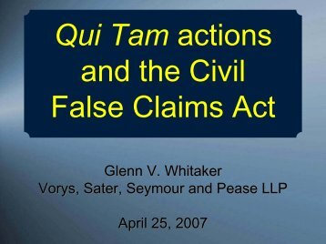 Qui Tam actions and the Civil False Claims Act