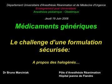 Les médicaments génériques an anesthésie - JLAR