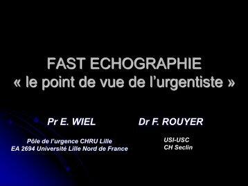 FAST échographie aux Urgences. Quelles formations ? Eric ... - JLAR
