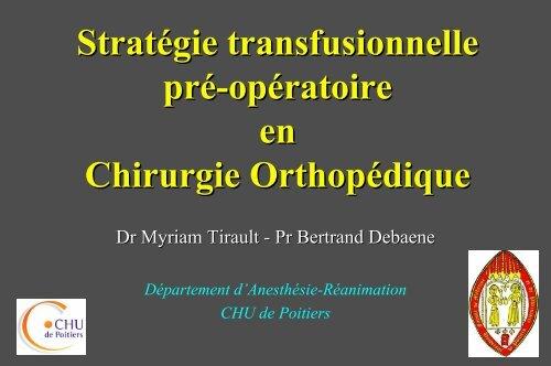 Strategie transfusionnelle en orthopédie - JLAR