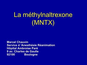 NTX : antagoniste périphérique des morphiniques - JLAR