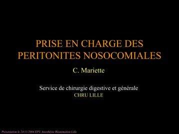 PRISE EN CHARGE DES PERITONITES NOSOCOMIALES - JLAR