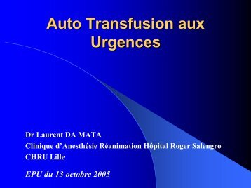 Autotransfusion aux urgences - JLAR