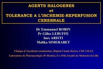 AGENTS HALOGENES et TOLERANCE A L'ISCHEMIE ... - JLAR