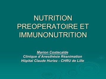 Nutrition préopératoire et immunonutrition - JLAR