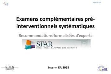 Examens complémentaires préopératoires - JLAR