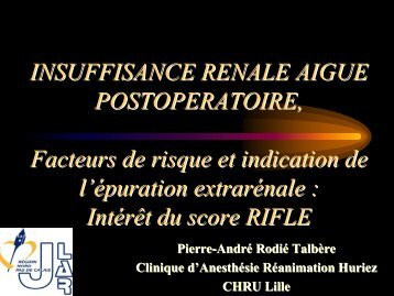 Intérêt du score RIFFLE - JLAR