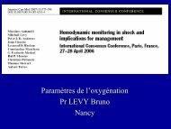 Choc et paramètres de l'oxygénation - JLAR