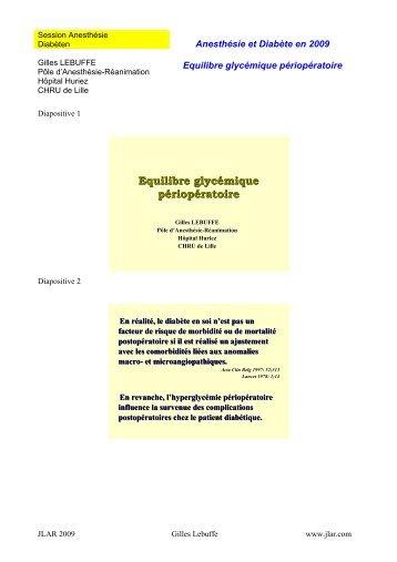 Equilibre glycémique péri opératoire - JLAR