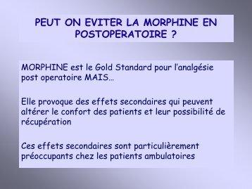 PEUT ON EVITER LA MORPHINE EN POSTOPERATOIRE ? - JLAR