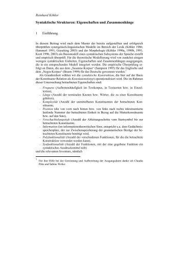 Syntaktische Strukturen: Eigenschaften und Zusammenhänge - DWDS