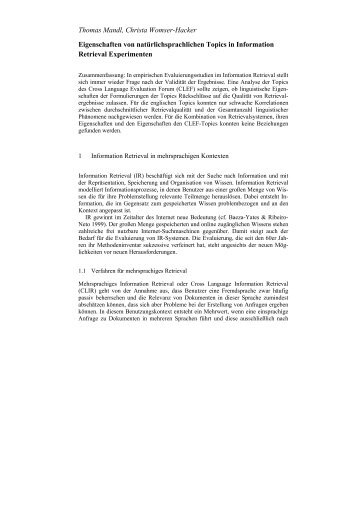 Eigenschaften von natürlichsprachlichen Topics - JLCL