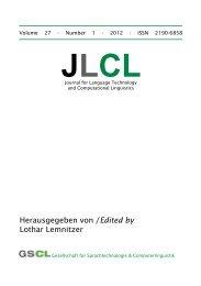 Herausgegeben von / Lothar Lemnitzer Edited by - JLCL