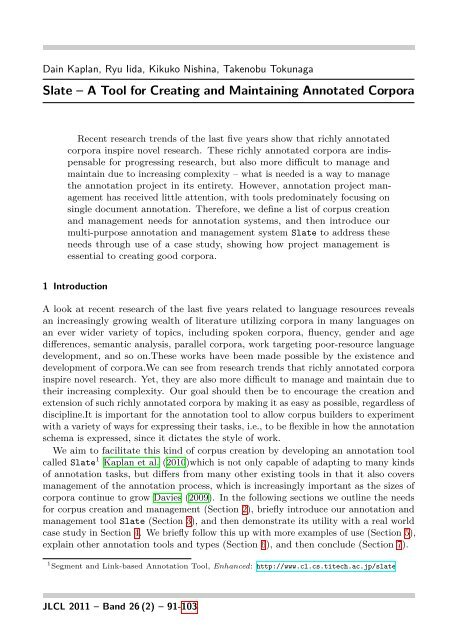 Slate – A Tool for Creating and Maintaining Annotated Corpora - JLCL