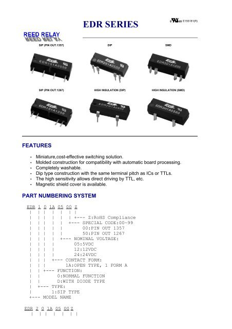REED RELAY - EDR SERIES