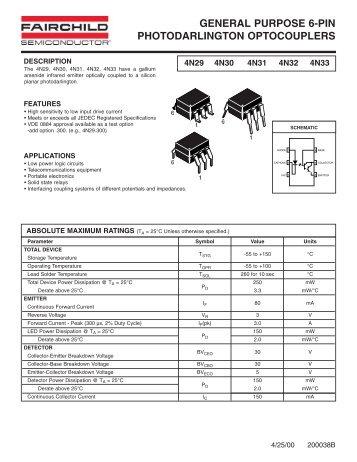4N29, 4N30, 4N31, 4N32 and 4N33 General Purpose 6-Pin ... - Micros