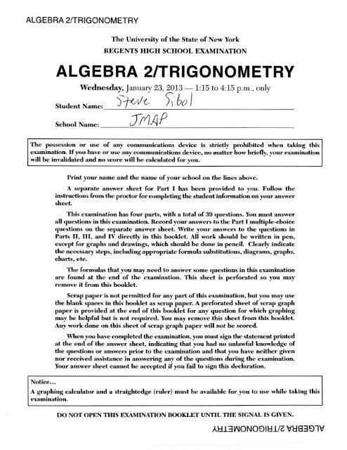 algebra 2 regents june 2020