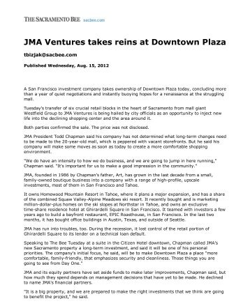 JMA Ventures takes reins at Downtown Plaza - Business - The ...
