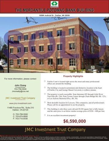 10509 Judicial Dr. Fairfax, VA 22030 - JMC Investment Trust Company