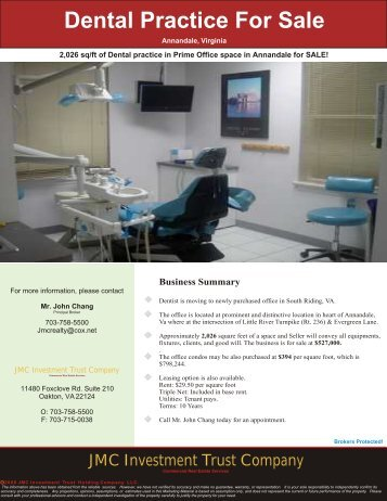 Dental Practice For Sale - JMC Investment Trust Company