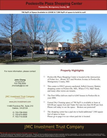 Poolesville Plaza Shopping Center - JMC Investment Trust Company
