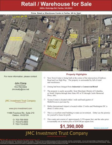 2929-J Eskridge Rd. Fairfax, VA 22031 - JMC Investment Trust ...