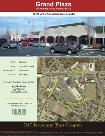 45000 sq/ft @ Grand Plaza in Centreville, VA - JMC Investment Trust ...
